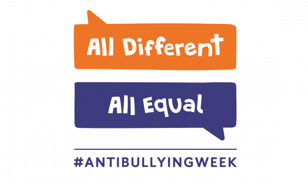The Anti Bullying Week logo and slogan for this year: All Different, All Equal